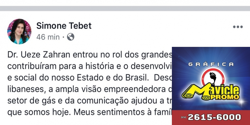 Publicação da senadora Simone Tebet no facebook — Foto: Facebook/Reprodução